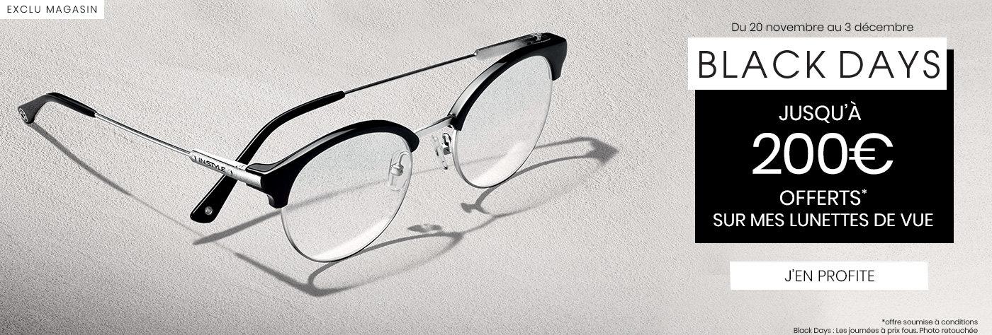 Black Days 200€ offerts lunettes de vue